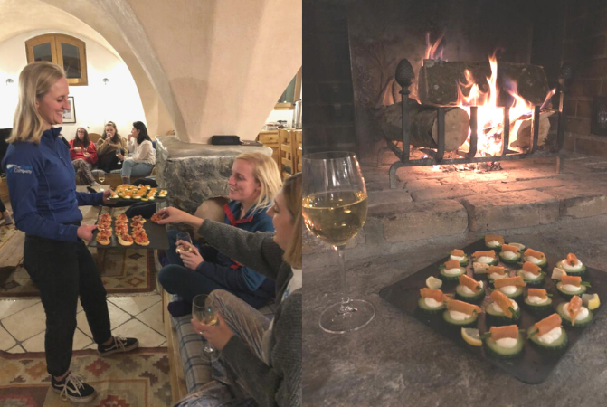 Guests being served canapés in a catered ski chalet