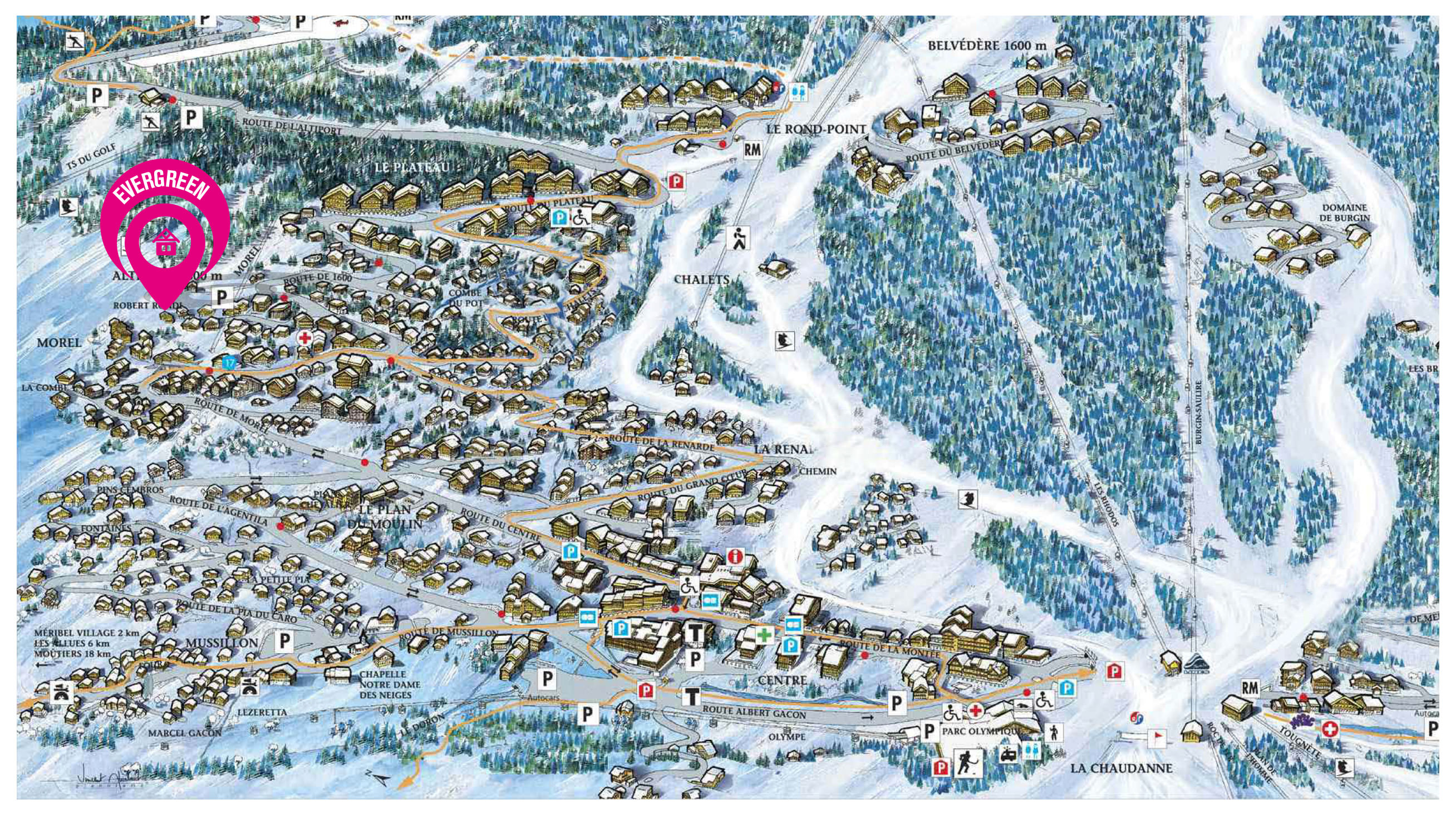 Map of Chalet Evergreen