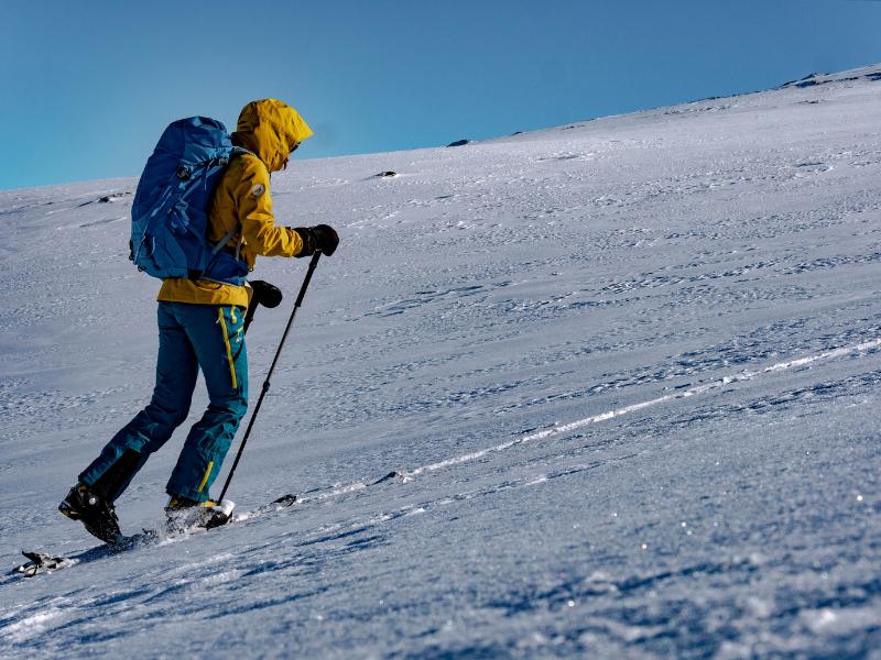 Touring up a ski slope
