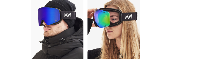 woman and man wearing ski goggles