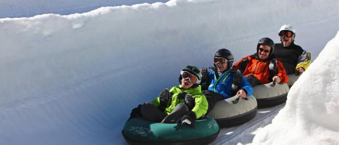 family on toboggan run in Villars ski resort
