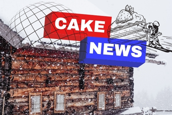 ski chalet in the snow with Cake news written in text