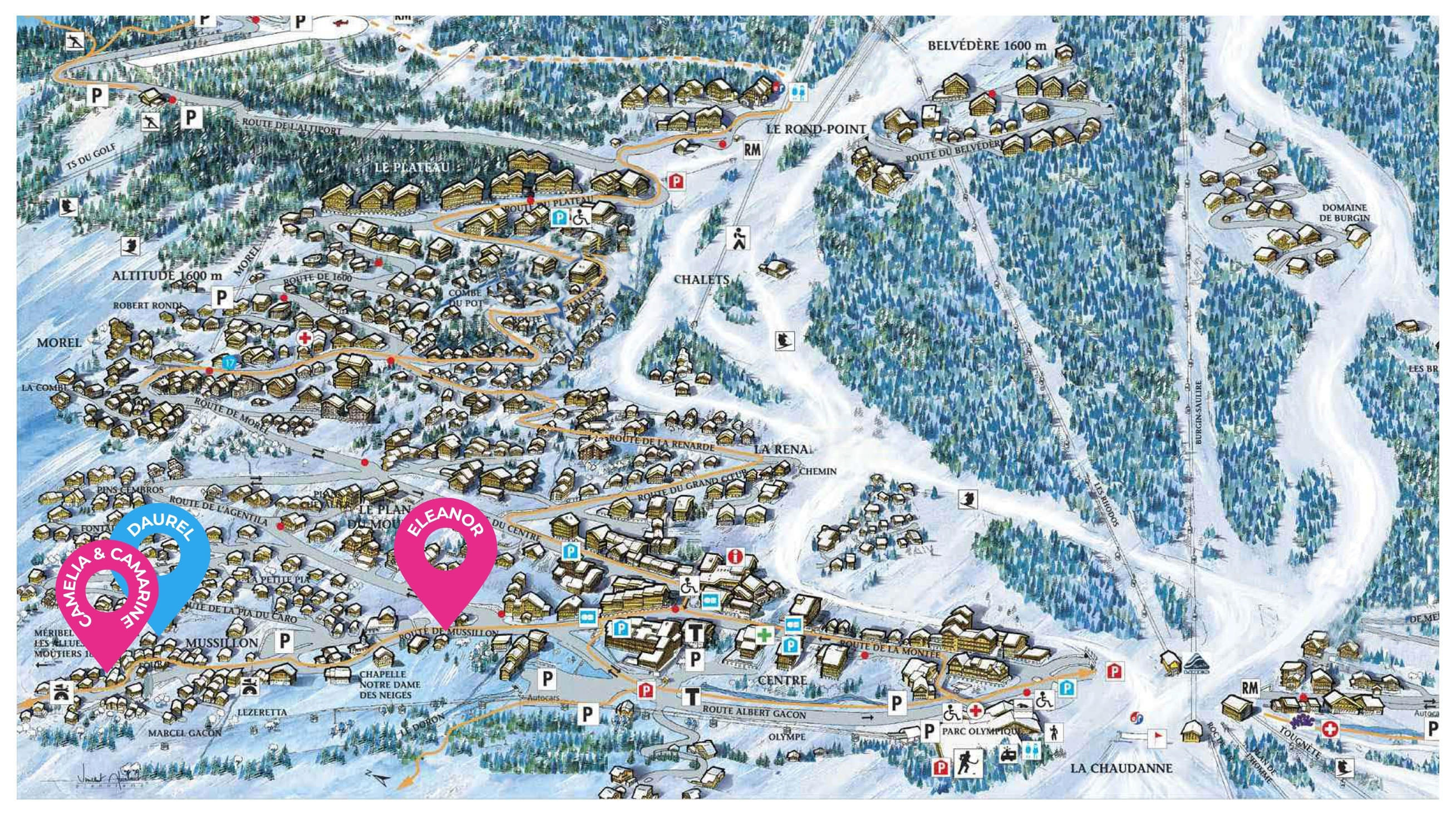 map of new chalets i meribel